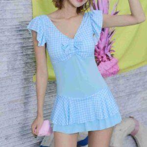 Short-Sleeve Plaid Swim Dress